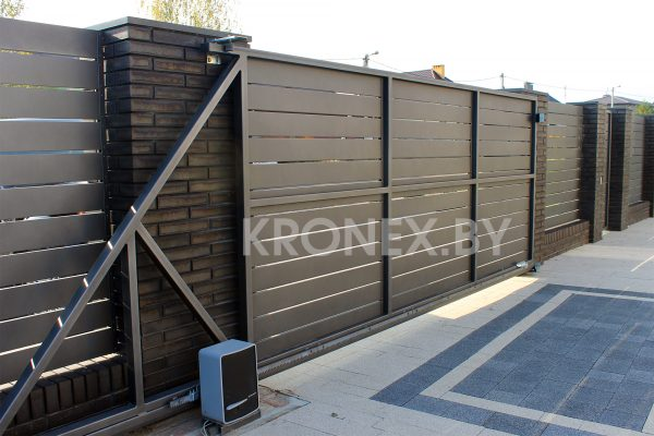 металлические откатные ворота юта с автоматикой