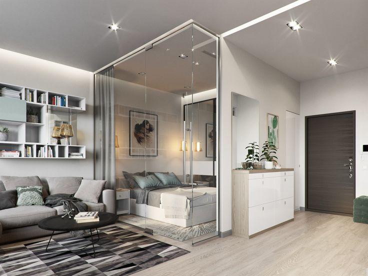 современные стеклянные перегородки для спальни